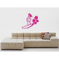 Surfer Girl Decal Sticker Wall Girl Bedroom Beach Surf Nursery Child Water