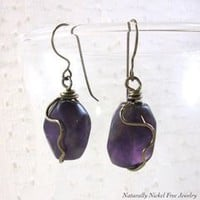 Amethyst Earrings with Niobium Wirework Nickel Free - Naturally Nickel Free