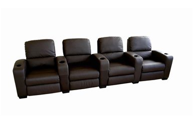 Home Theatre Seating Row Of 4 Brown From Ny Furniture Outlets