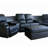 Home Theater Seating Curved Row Of 4 Black Set, Black Home Theater Seats Set: Nyfurnitureoutlets.com