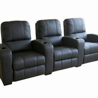 Home Theatre Seating Row Of 3 Black, Contemporary Home Theater Seats: Nyfurnitureoutlets.com