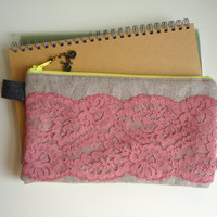 Pencil Case with Lace and Bike Zipper Pull by handmadephilosophy