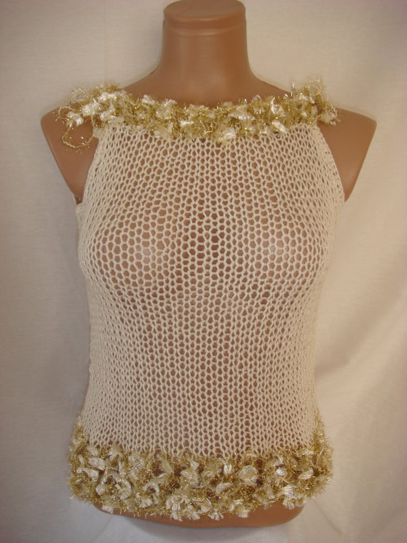 Hand knitted blouse for summer&spring by Arzus on Etsy
