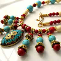Nepalese Necklace Blue Turquoise Nepal necklace Coral by ByGerene