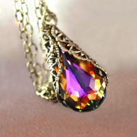 Amber Purple Necklace RARE Red Plum Brandy Purple by DorotaJewelry