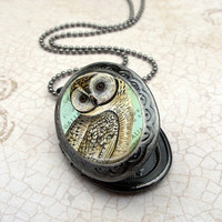 Owl Locket Necklace  Gunmetal Locket with Matching by Lizabettas