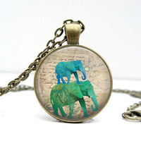 Stacked Elephant Necklace Blue Green Glass Dome by Lizabettas