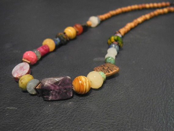 Juniper  Multicolored gemstone and wood beaded by courtniefelicia