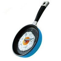Blue personality omelette pan wall clock - Novelty Clocks