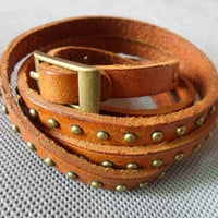 Women Leather Bracelet Brown Leather and Bronze by braceletcool