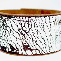 White Crackle Leather Cuff no 2 Homme by LeatherCoutureLV on Etsy
