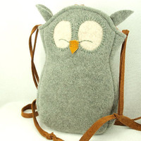 $38.00 Felted Wool Bag Owl Shoulder Bag Grey Wool Purse  by ForMyDarling