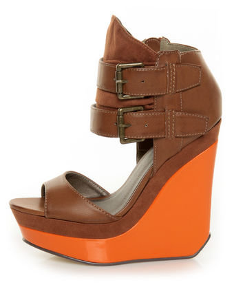 Michael Antonio Guava Cognac Belted Ankle Cuff Wedges - $86.00