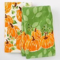 Harvest Watercolor Pumpkin 2-pk. Kitchen Towels