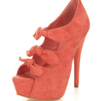 Honor Coral Triple Bow Heel - Miss Selfridge