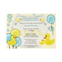 Rubber Duck Ducky Diaper Baby Shower Invitation from Zazzle.com