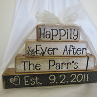 Happily Ever After wooden blocks for wedding or by FayesAttic11