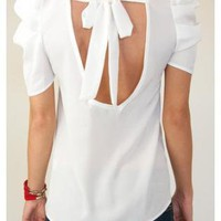 White Short Sleeve Top - White Puff Sleeve Blouse with | UsTrendy
