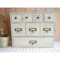 8-Drawer Natural Wood Mini Chest - Rustic White