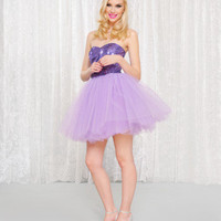 EVNG. SEQUINS ON TULLE STRAPLESS DRESS - Betsey Johnson