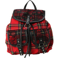 Tartan Plaid Skull Slouch Backpack