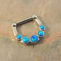 Turquoise Blue Fire Opal Septum Ring Clicker Bull Ring Nose Piercing