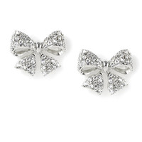 Rhinestone Encrusted Bow Stud Earrings