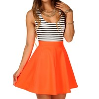 Coral Striped Skater Dress