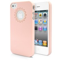 iPhone 4S Case, MagicMobile® Ultra Slim Thin Premium Lovely Cute Snap On Heart Love Camera Hole Cover Lace Logo Design Pattern - Light Pink