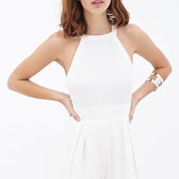 FOREVER 21 Pleated Crepe Halter Romper Cream