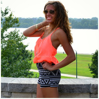 Crescent Valley Neon Coral Tribal Romper