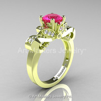 Classic 18K Green Gold 1.0 Ct Pink Sapphire Diamond Solitaire Engagement Ring R323-18KGGDPS
