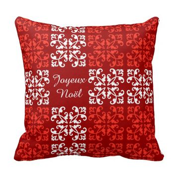 Christmas Pillow, Joyeux Noël, Red on Red w White