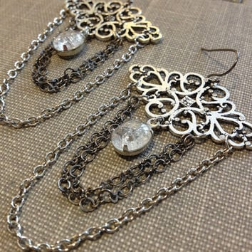 mixed metal lace filigree and chain fringe chandelier earrings with vintage rhinestones romantic feminine statement rustic scroll earrings