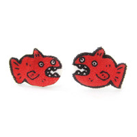Hand Drawn Fish Animal Illustrated Stud Earrings | Shrink Plastic