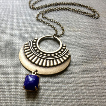 tribal shield vintage royal blue rhinestone charm necklace // boho chic jewelry // brass batik pendant necklace // layering necklace