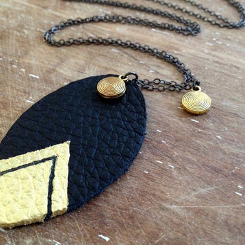 gold and black hand painted leather and gold disk long chain necklace // boho chic necklace // leather leaf necklace // chevron necklace