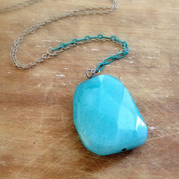 long aqua blue jade stone pendant necklace // enameled chain necklace // colorful necklace // layering necklace // simple minimal necklace
