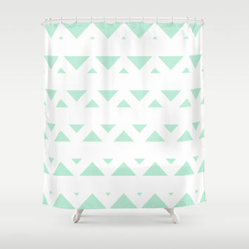 Tribal Triangles Mint Green Shower Curtain by BeautifulHomes | Society6