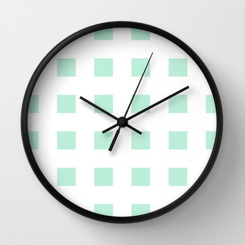 Cross Squares Mint Green Wall Clock by BeautifulHomes | Society6