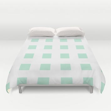 Cross Squares Mint Green Duvet Cover by BeautifulHomes | Society6