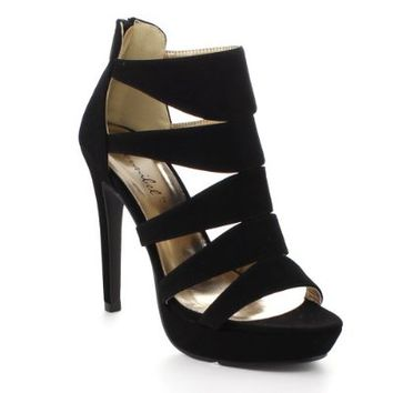 BONNIBEL SOFIA-4's Women Peep Toe Strappy Back Zipper Stiletto Heel Sandals