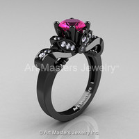 Classic 14K Black Gold 1.0 Ct Pink Sapphire Diamond Solitaire Engagement Ring R323-14KBGDPS
