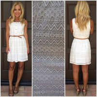 Dolce Vita Crochet Dress With Belt - IVORY