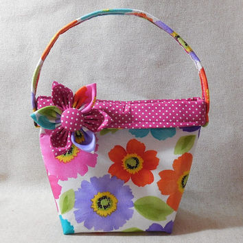 Beautiful Colorful Floral Little Girls' Purse With Detachable Fabric Flower Pin