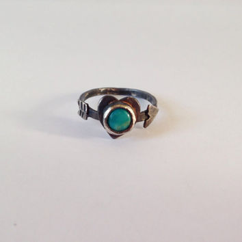 Heart arrow ring | Turquoise | Silver | Promise | Shot through the heart |