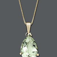 14k Gold Necklace, Green Quartz Pear Drop Pendant (2-3/4 ct. t.w.) - Gemstones - Jewelry &amp; Watches - Macy&#x27;s