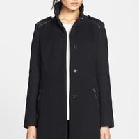 Cole Haan Faux Leather Trim Wool Blend Coat