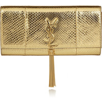 Saint Laurent | Monogramme metallic python clutch | NET-A-PORTER.COM