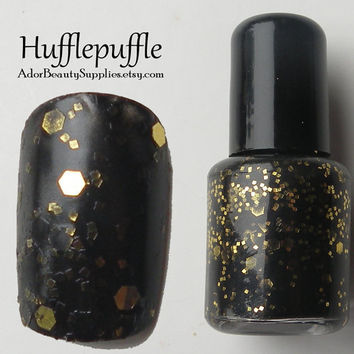 Hufflepuffle Nail Polish 8ml Vegan Glitter by AdorBeautySupplies